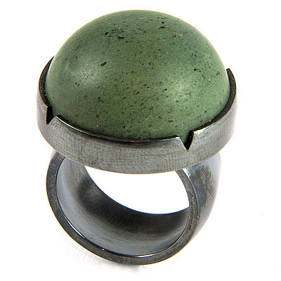 Argillite and silver ring by A+M
